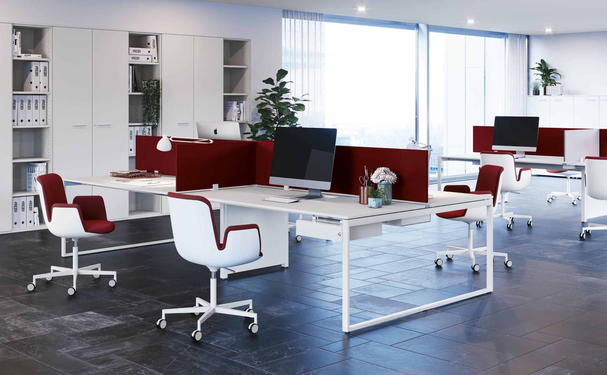 SQUARE – scrivania e bench con gambe ad anello